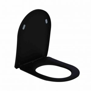AQS Toiletzitting Vera Shade Fit Met Deksel Met Soft Close Mat Zwart